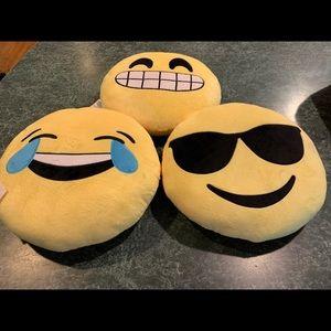 Lot Of (3) Plush Emoji Pillows